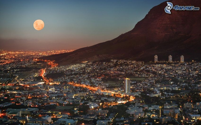 Cape Town, evening city, orange Moon