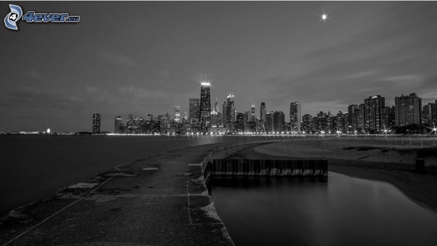Chicago, night city, black and white photo