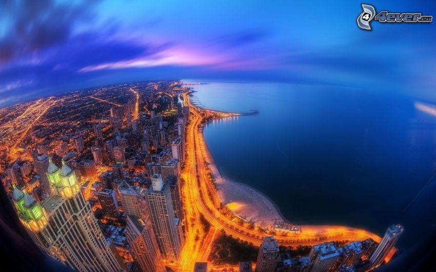 Chicago, night city, coast, HDR