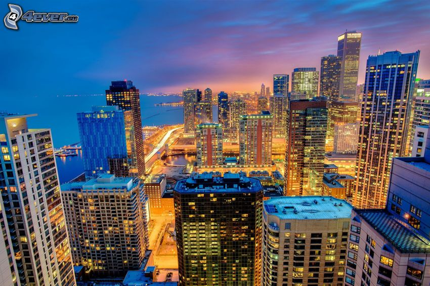 Chicago, skyscrapers, evening city