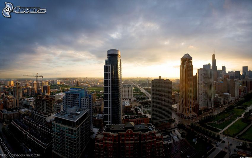 Chicago, USA, skyscrapers, sunset over a city