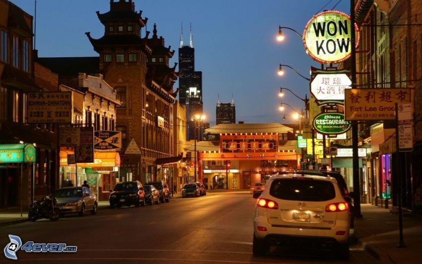 Chinatown, Chicago, evening city, street