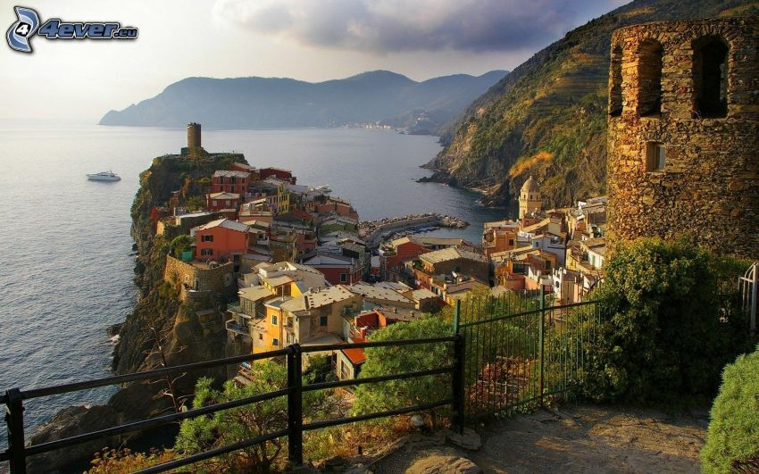 Cinque Terre, Liguria, Italy, seaside town, the view of the sea