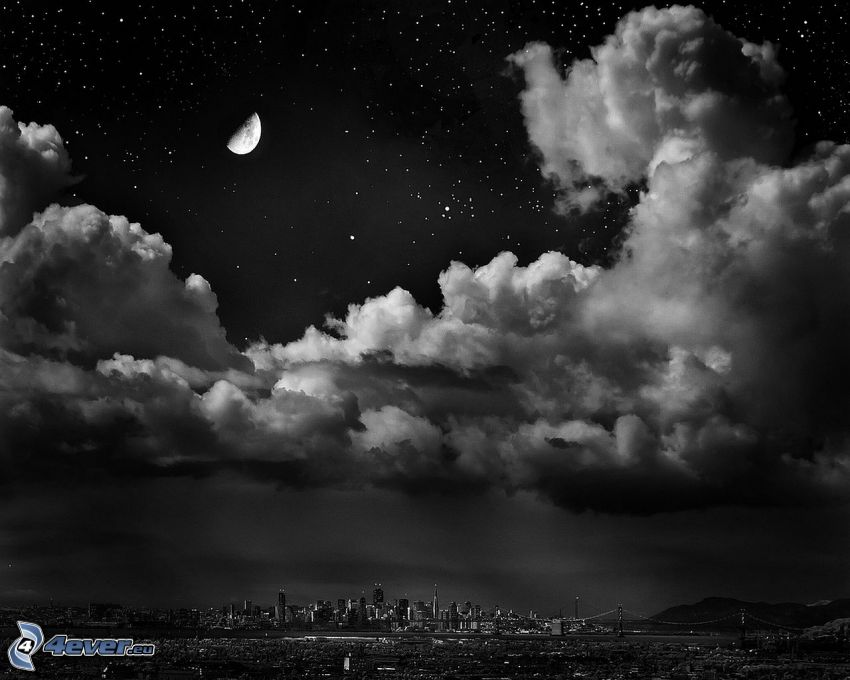 clouds, city, moon