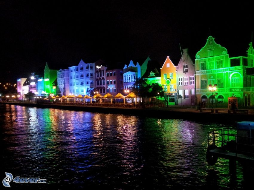 colorful houses, night city, Curaçao