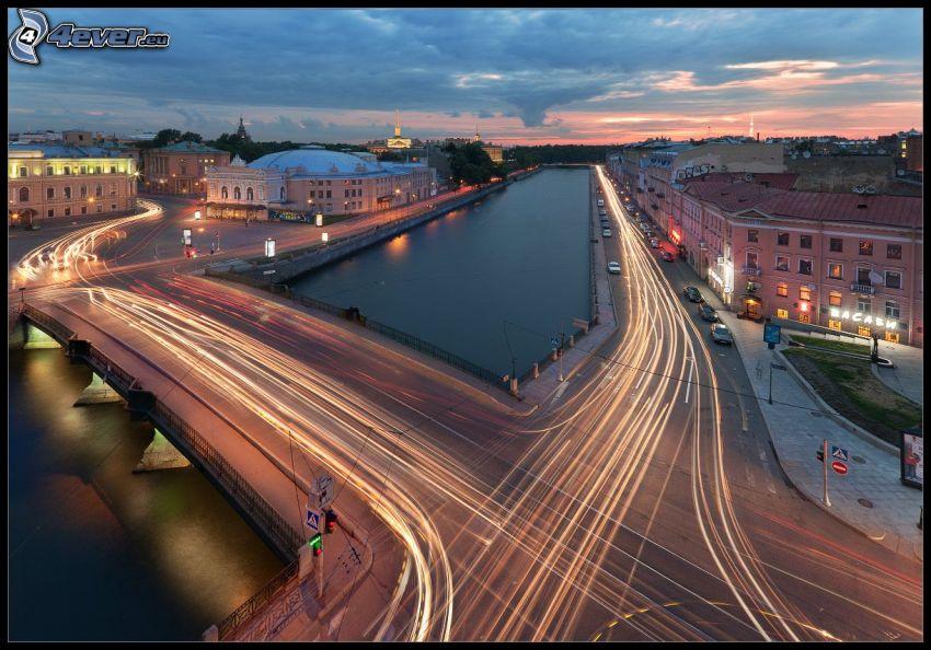 crossword, transportation, lights, River, bridge, houses, evening