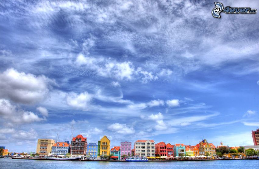 Curaçao, colorful houses, sky