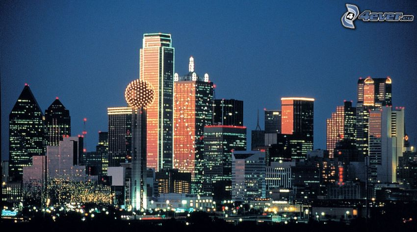 Dallas, night city, skyscrapers