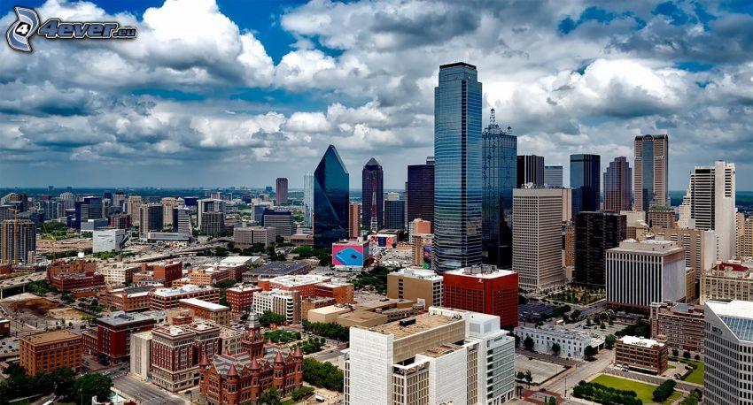 Dallas, skyscrapers, clouds