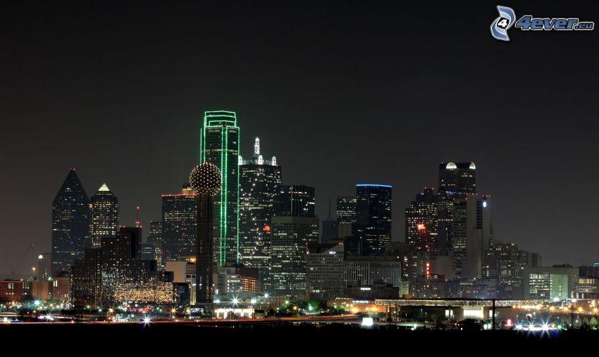 Dallas, skyscrapers, night city