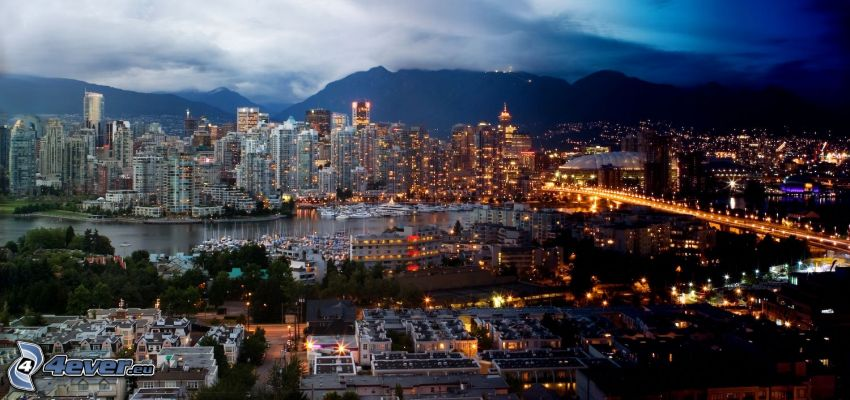 day and night, Vancouver, night city