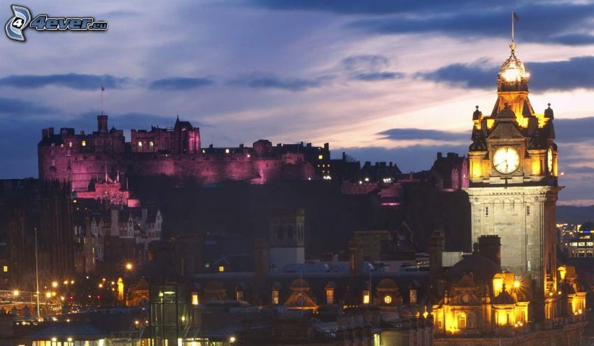 Edinburgh, Edinburgh Castle, night city
