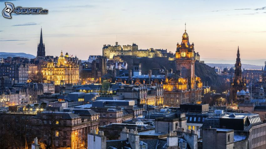 Edinburgh, evening city, Edinburgh Castle