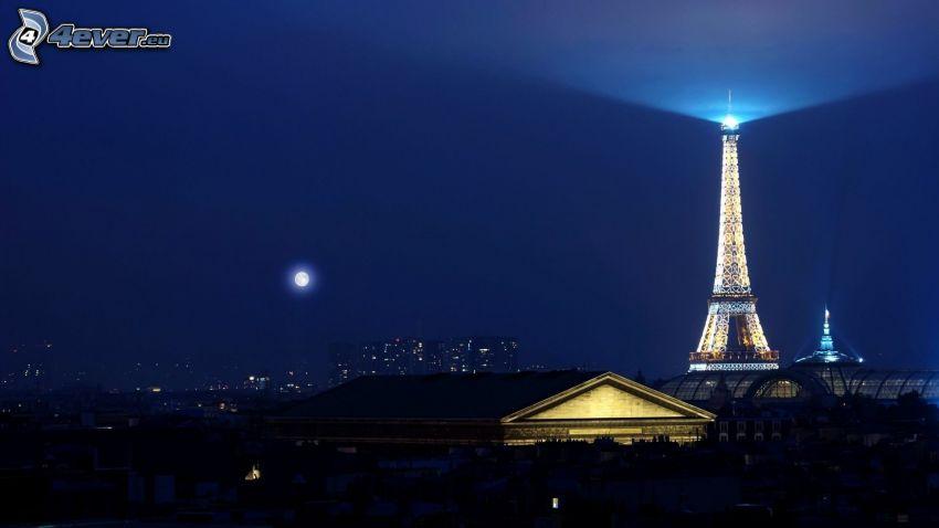 Eiffel Tower, Paris, moon