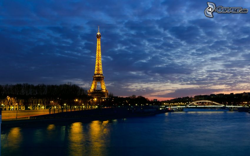 Eiffel Tower, Seine, River, night city, lighted bridge