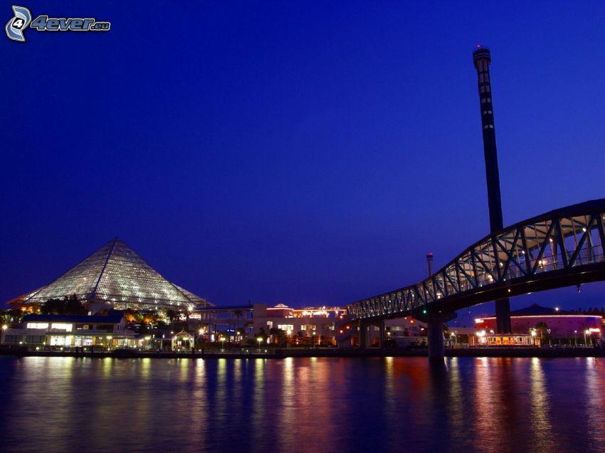evening city, bridge, pyramid