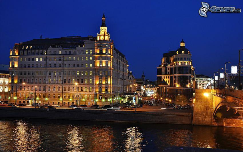 evening city, buildings
