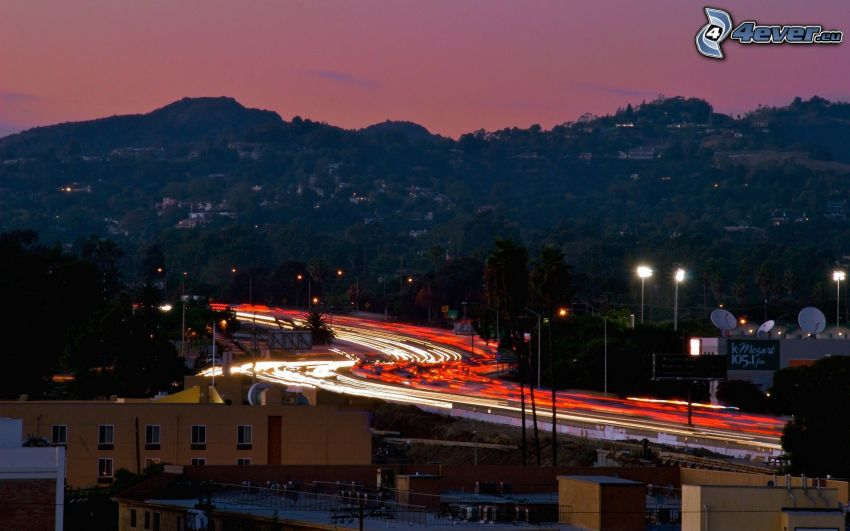 evening city, road, lights