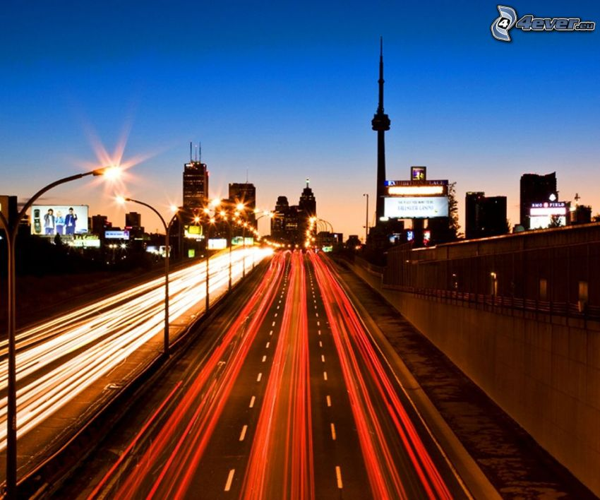 evening highway, Toronto, skyscrapers, evening city