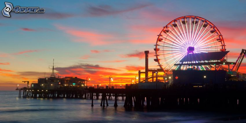 ferris wheel, sea, after sunset, Santa Monica