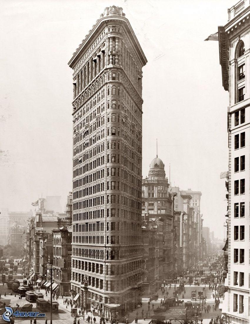 Flatiron, Manhattan, streets, sepia