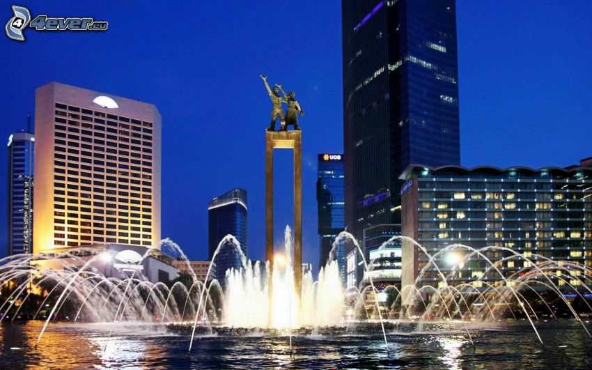 fountain, Jakarta, evening city