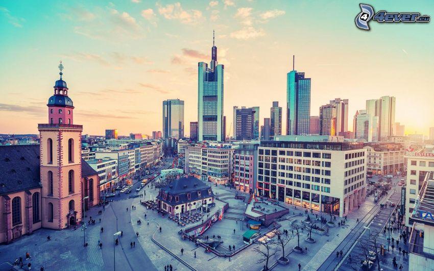 Frankfurt, skyscrapers, square
