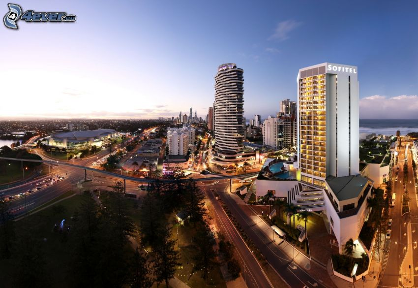 Gold Coast, road, evening city