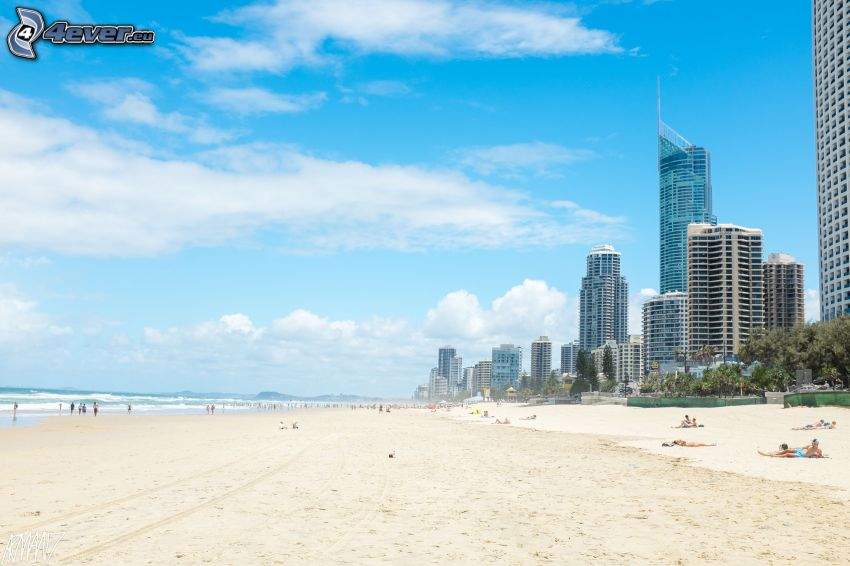 Gold Coast, sandy beach, skyscrapers