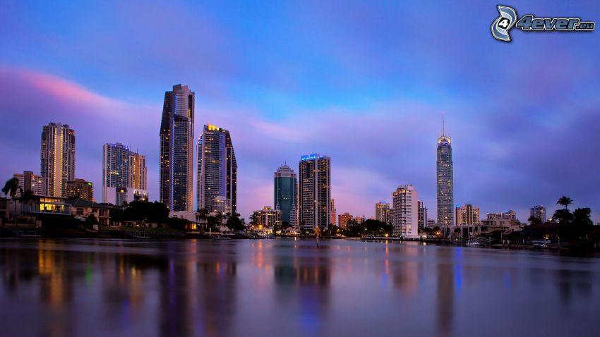 Gold Coast, skyscrapers, evening city