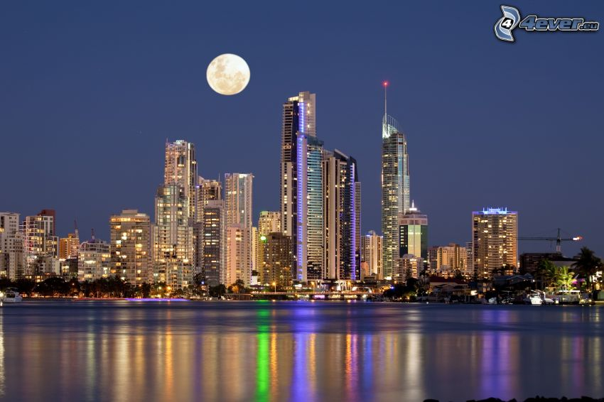 Gold Coast, skyscrapers, Moon, evening