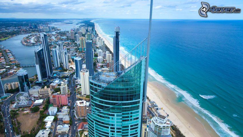 Gold Coast, skyscrapers, open sea, sandy beach
