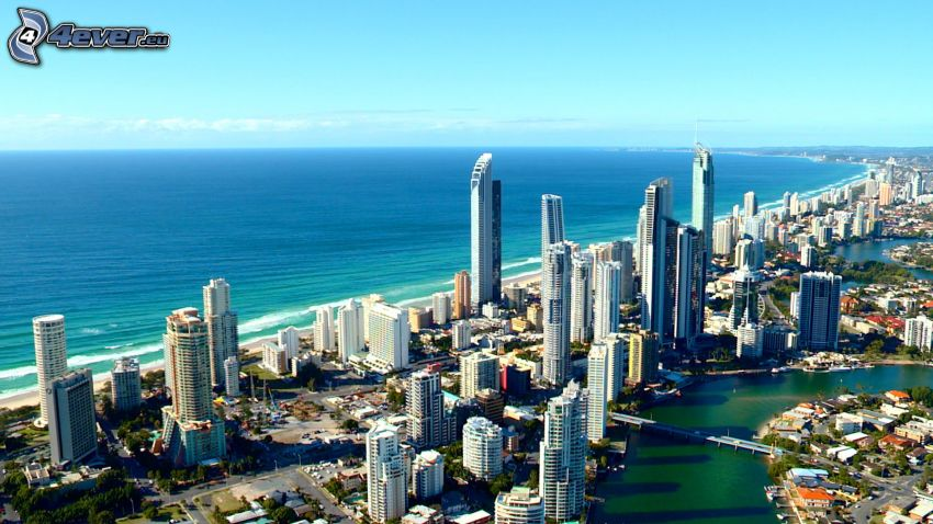 Gold Coast, skyscrapers, open sea