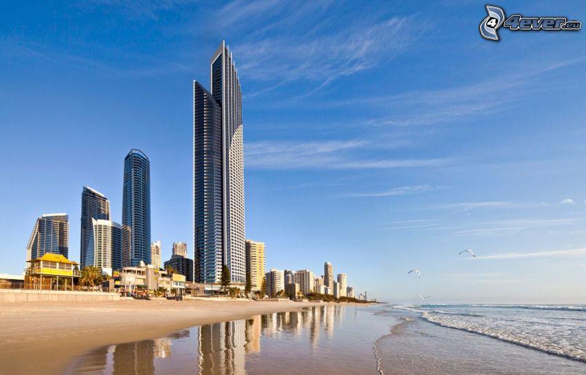 Gold Coast, skyscrapers, sandy beach, sea
