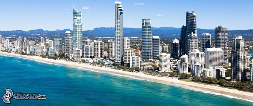 Gold Coast, skyscrapers, sandy beach, sea