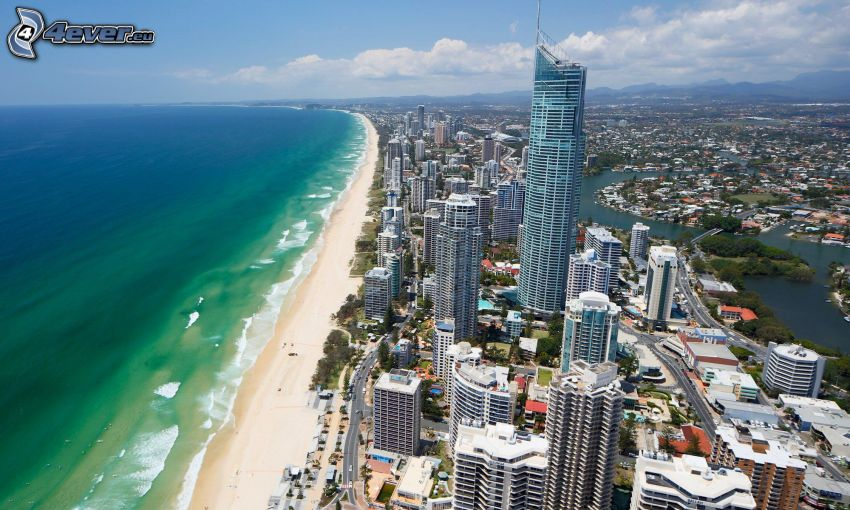 Gold Coast, skyscrapers, sandy beach