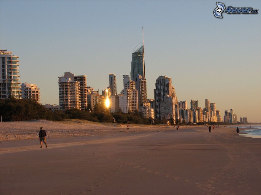 Gold Coast, skyscrapers, sandy beach
