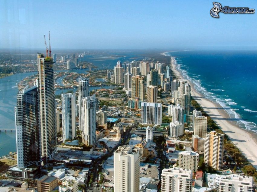 Gold Coast, skyscrapers, sea