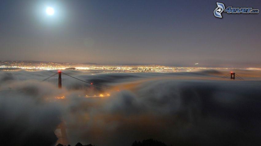Golden Gate, moon, bridge in fog