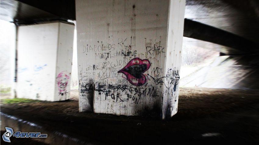 graffiti, mouth, under the bridge