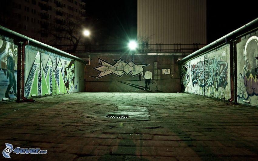 graffiti, wall, night
