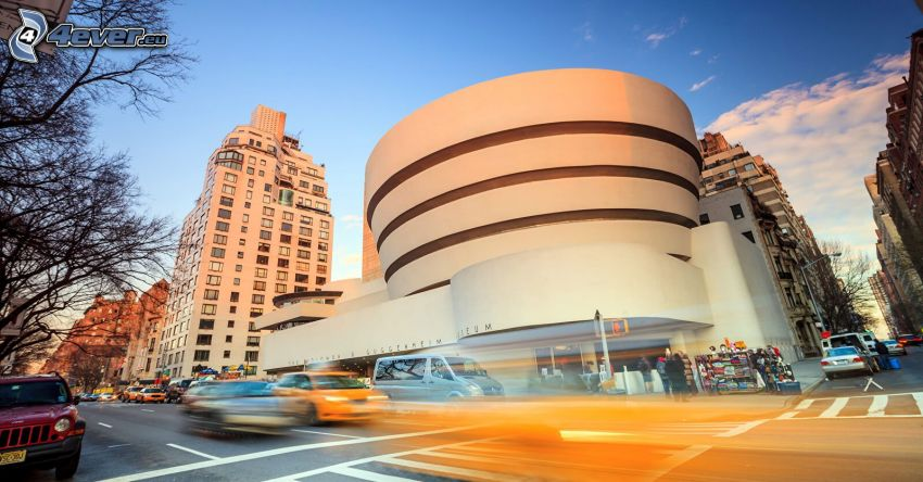 Guggenheim Museum, cars, speed