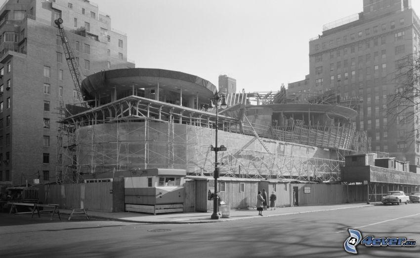 Guggenheim Museum, construction, black and white photo