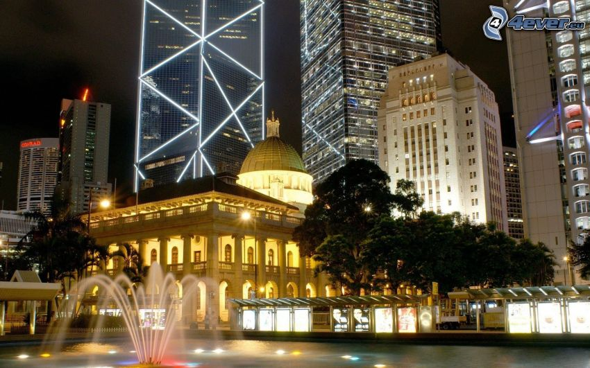 Hong Kong, fountain, Bank of China Tower