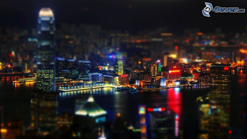 Hong Kong, night city, diorama