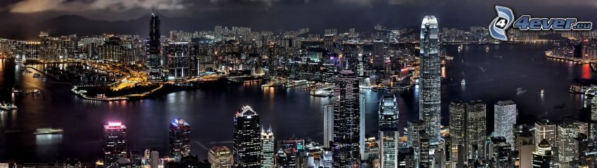 Hong Kong, night city, lights, Two International Finance Centre