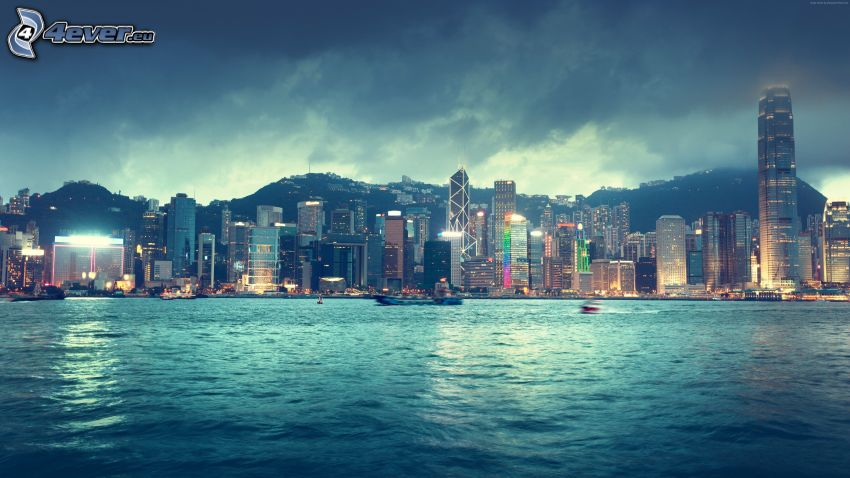 Hong Kong, storm clouds