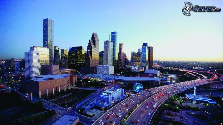 Houston, skyscrapers, highway