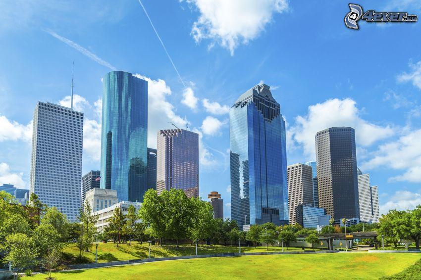 Houston, skyscrapers, park