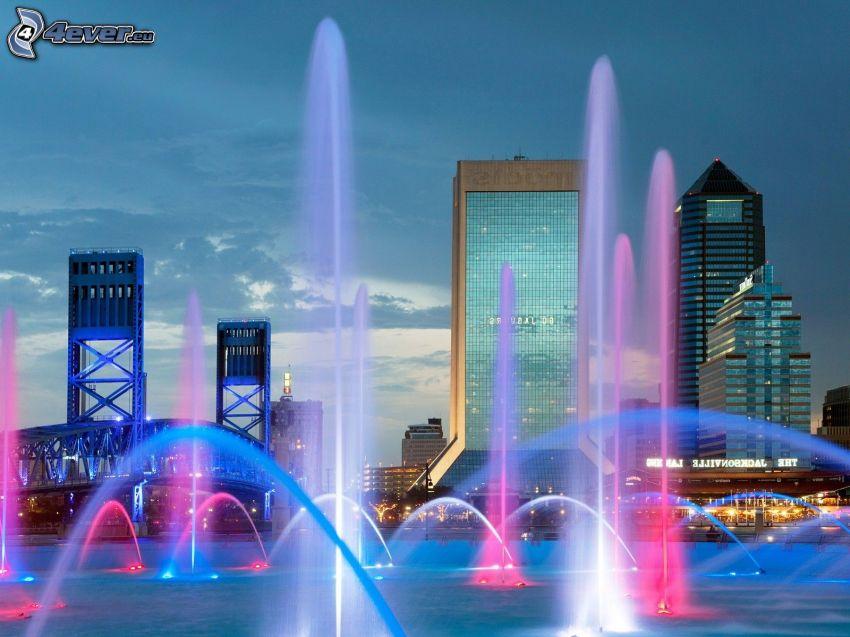 Jacksonville, fountain, skyscrapers